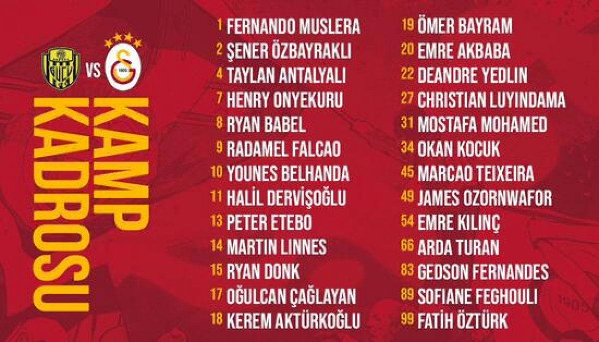 Galatasaray ın Ankaragücü maçı kamp kadrosu #2
